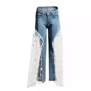 Denim - ⭐️ Fly Girl Mid Rise Denim Mesh Jeans ⭐️